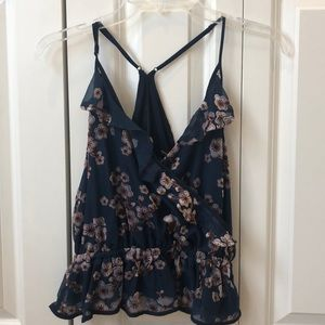 Urban Outfitters Navy Floral Blouse